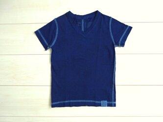 ◆100%自然素材 天然灰汁発酵建て 本藍染◆ オーガニックコットン VネックTシャツの画像