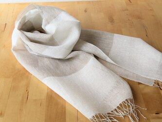 手織りリネンストール グレーベージュの画像