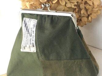 pouch /ヴィンテージミリタリー がま口ポーチ    ■tf-324  -DM便送料無料-の画像