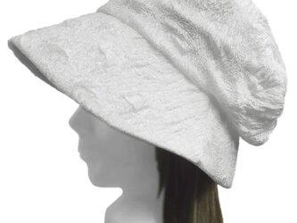 膨れ織レースニット/セレブ帽子(ゆったり)◆ホワイトの画像