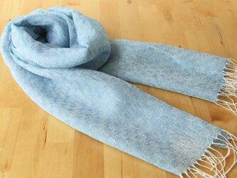 手織りリネンストール 市松透かし織り・水色の画像