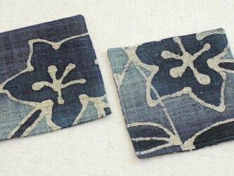コースター2枚Set【青い花ーB】の画像