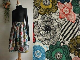 期間限定 送料無料sale 裏地つき 北欧 ハーフリネン ウエストゴム ボリュームギャザースカート 綿麻 花柄の画像