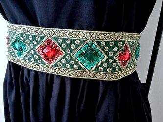★緑x赤x金★インド刺繍のリボンベルト★の画像