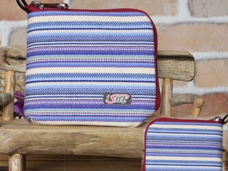【薄い財布】倉敷帆布 カード・お札・小銭一括収納 二つ折り財布 紫系生地 赤ファスナーの画像
