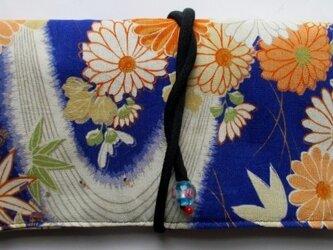 送料無料 花柄の着物で作った和風財布・ポーチ 3403の画像