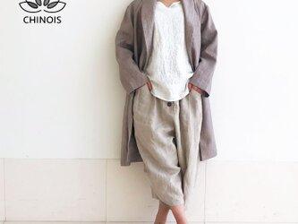 リネンのお出掛けローブコート、スプリングコートの画像