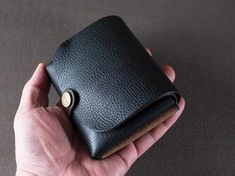 イタリア製牛革の二つ折り財布2  /   ブラック / チョコ※受注製作の画像