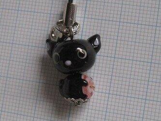 とんぼ玉 花抱き黒猫 ストラップの画像