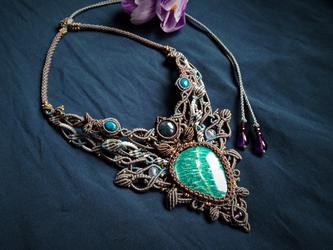 amazonite × indian agate / decollete necklace の画像