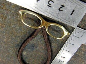 真鍮ブラス製 眼鏡(メガネ)デザインヘアゴムコンチョ 髪留め・バッグボタン飾り・ペットの首輪飾りにもの画像