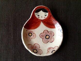 母の日に♬ マトリョーシカトレイ 桃色のお花の画像
