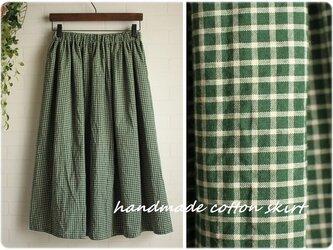 裏地つき グリーン チェック ウエストゴム ギャザー スカート 緑の画像
