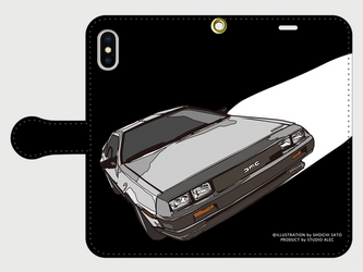 デロリアン イラスト スマホケース(手帳型)iPhone&Android対応の画像