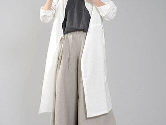 中厚 リネン カシュクール フードコート  羽織 ワンピースコート / ホワイト a005c-wht2の画像
