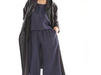 中厚 リネン カシュクール フードコート  羽織 ワンピースコート / ブラック a005c-bck2の画像