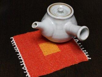 手織り リバーシブルのポットマット(リネン) No.1の画像