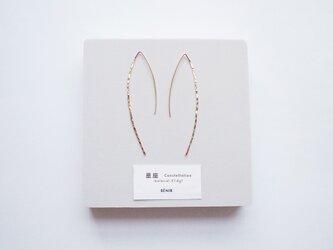 【14kgf】星座ピアス/槌目/LL マーキス ゴールド 華奢 シンプルの画像