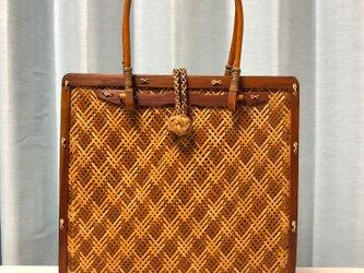 網代編みバッグ(色染め仕上げ模様編み)の画像