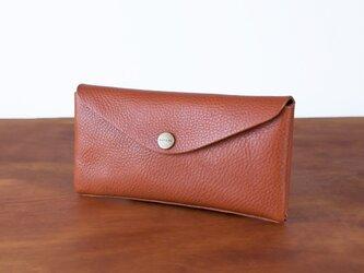 イタリア製牛革のコンパクトな長財布3  /   ライトブラウン※受注製作の画像