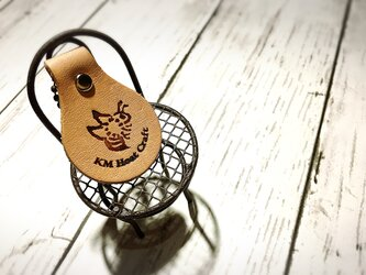幸せ運ぶミツバチキーホルダー 本革 名入れ無料送料無料の画像