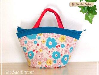 お家で洗えるバッグ Parterre(パルテール・花壇)フーシャピンク×ターコイズブルー M・ファスナーの画像