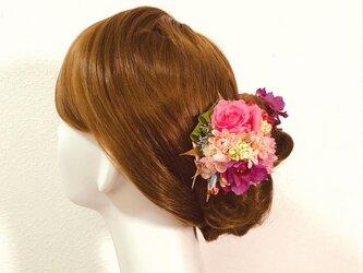 卒業袴・成人式・和装婚に♡ピンクマムとお花の和装髪飾り(7点セット)の画像