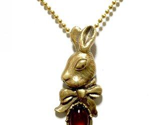 ✴︎再販です✴︎妖精詩集 /うさぎのリボン(真鍮+チェリーアンバー)の画像