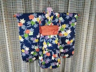 ♪市松人形の着物18号サイズ紺86の画像
