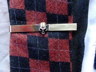 真鍮ブラス製 ミニスカル/ドクロ型ネクタイピン(タイバー)1個 ネクタイ・ポケットの飾りにの画像