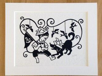 犬の切り絵「こどもの国」◆ビーグルの画像