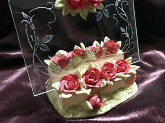 薔薇のフレーム〜手彫りガラス〜の画像