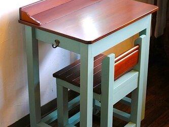 ☆かわいいパタパタ机と引出し付きの椅子セット★Old Villageバターミルクペイントの画像
