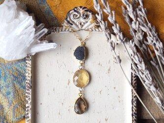 シトリン・スモーキークォーツ・ドゥルージーのネックレスの画像