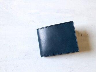 【受注生産品】二つ折り財布 ~栃木アニリン青×栃木ブラックサドル~の画像
