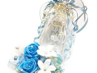 プリザーブドフラワーガラスの靴リングピロー/サムシングブルーとジャスミンの祝福の画像