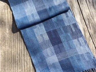 ■手織/リネン単糸スカーフ/スクゥエアの画像