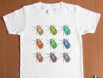 受注プリント全4色☆Tシャツ「カラフルかなぶん」オリジナルデザイン☆大人から子供 まで全てのサイズ対応  虫  昆虫の画像