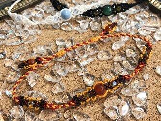 新色追加!天然石のマクラメ編みアンクレット【レース】オレンジ系・カーネリアンの画像