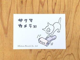 サクマカメラポストカード フィルムにじゃれるサクマの画像