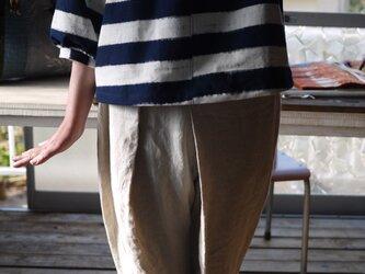 久留米絣ボーダーのトップスの画像