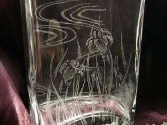 あやめのスクエア花器〜手彫りガラス〜の画像