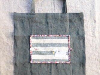 たためるサブバッグ(白鳥の刺繍)の画像