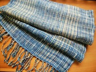 手織りストール(藍)no.1の画像