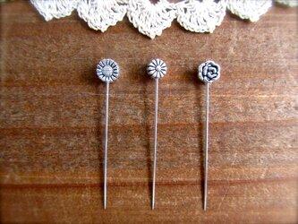 *再販* シルバーメタル小さなお花ビーズの待ち針 3種3本セットの画像