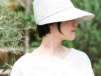 Organic Cotton キャップ日よけ帽【薄手ヘリンボーン生地/グレー】の画像