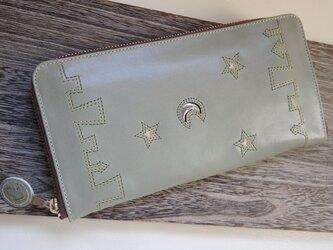 『街★』落ち着いた水色(ラウンドファスナー型長財布)スリム型の画像