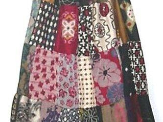 Sold Out着物リメイク♪銘仙色々パッチワークティアードスカート♪ハンドメイドの画像