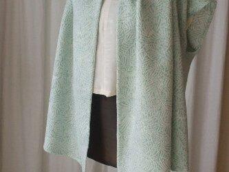 在庫処分 ペパーミントグリーンが爽やか絞りのベストチュニック 絹の画像