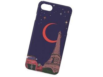 フランスの風景イラスト「月に恋するエッフェル塔」 ハードケース型スマホケース iPhone&Android対応の画像